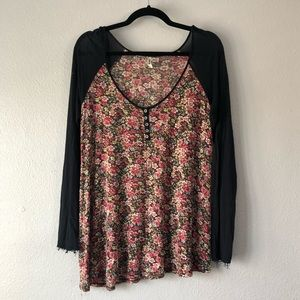 Free people floral baseball T